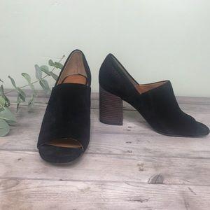 Franco Sarto   black open toe suede stacked heels